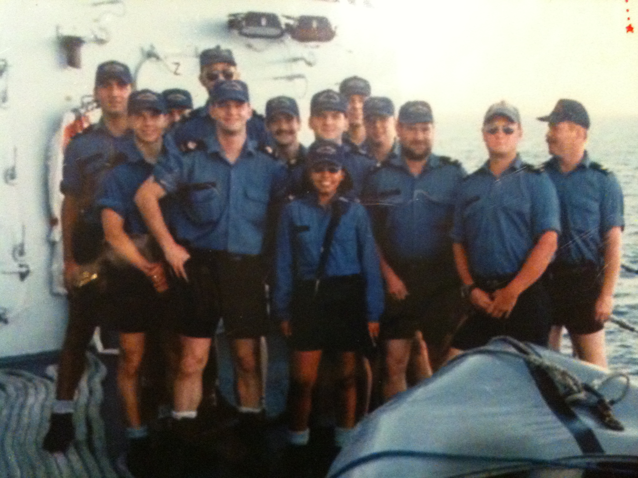 with her crewmates in the Persian Gulf