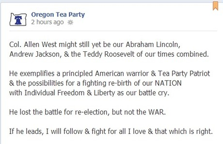 Oregon Tea Party hearts Allen West