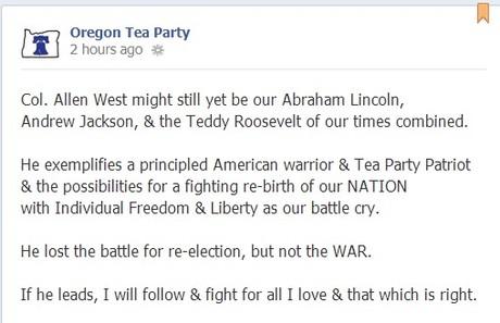 Oregon Tea Party hearts Allen West